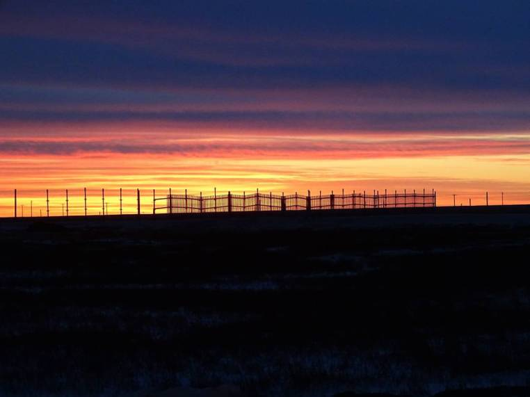A snow fence at sunrise