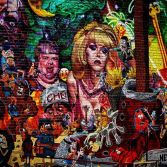 Close-p of a large and very busy mural. (The whole thing was cool. I just figured I'd better pick.)